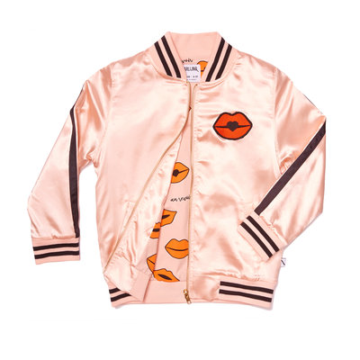 CarlijnQ - kiss goodbye - bomber pink satin / embroidery lips
